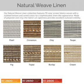 Oasis 2600, 2650, and 2800 - Natural Weave Linen Fabric Colors