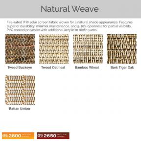 Oasis 2600 and 2650 - Natural Weave Fabric Colors