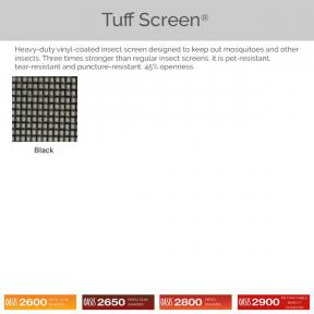 Oasis 2600, 2650, 2800, and 2900 - Tuff Screen Fabric Colors