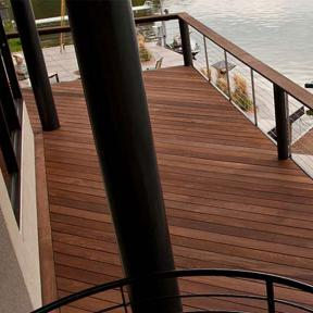 IPE Oil Hardwood Deck Finish by DeckWise on a second level patio