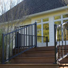 Westbury Liberty Aluminum Rail with Fixed Stair Sections in Black