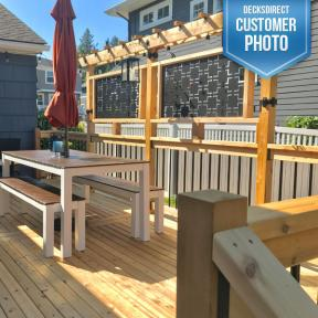 Featuring Deckorators Classic Round Aluminum Balusters, Deckorators Rail Connectors, Titan Wood Post Anchors, Camo Hidden Fasteners, OZCO Post Band and OZCO Hanger Accents