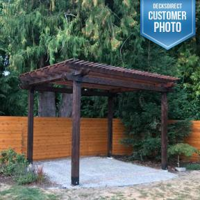 OZCO pergola featuring Ironwood Rafter Clips