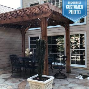OZCO pergola featuring Timber Bolts, Rafter Clips, and Laredo Sunset Post Base Kits (Patches the cat as the pergola model)