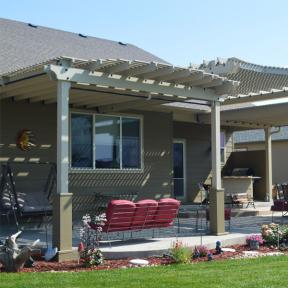 Patio Pergola featuring Timber Bolts and Rafter Clips by OZCO Ornamental Wood Ties