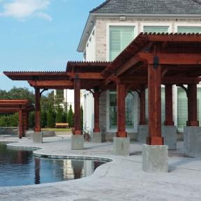 Four Pool-Side Pergolas featuring the Post to Beam Bolt Bracket by OZCO Ornamental Wood Ties