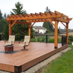Patio Pergola featuring the POst Base Kit, Post to Beam Bolt Bracket, Timber Bolts, and Rafter Clips by OZCO Ornamental Wood Ties