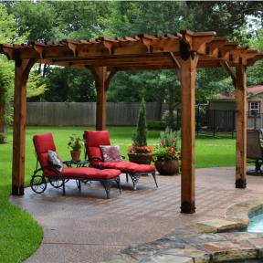 Pool Side Pergola featuring the Post Base Kit, Post to Beam Bolt Bracket, and Joist Hangers by OZCO Ornamental Wood Ties