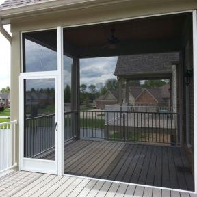 SCREENEZE® Screen Frame Kit Project shown on an outdoor patio area