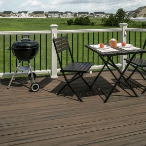 Help your railing stand out with Trex Enhance in a different color shown here in Coastal Bluff.