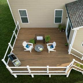 Create a complete, natural-looking deck with Trex Enhance in Coastal Bluff.