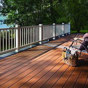Give your deck more dimension with Trex Select, in Saddle and Winchester Grey, boards together.
