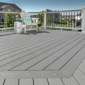 Get creative with your deck design using Trex Select in Pebble Grey.