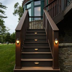 DeckLites LED Riser Light & DeckLites LED Accent Light by TimberTech DeckLites