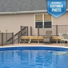 Westbury Tuscany Series Aluminum Railing. Features a Level Railing Section in Black Fine Texture.