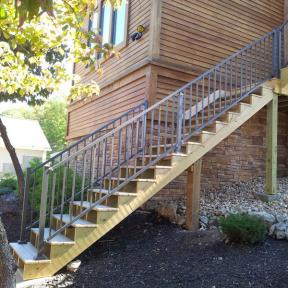 Westbury Tuscany Series Aluminum Railing Stair Section features Post Skirts