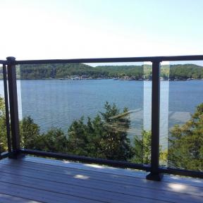 Westbury Veranda Glass Railing in Black Fine Texture.