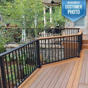 Westbury Tuscany Series Aluminum Railing. Features Westbury Drink Rail Adapter and Post Skirts
