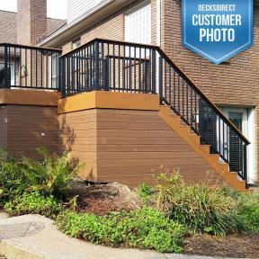 Westbury Tuscany Series Aluminum Railing Stair Section. Features Westbury Drink Rail Adapter