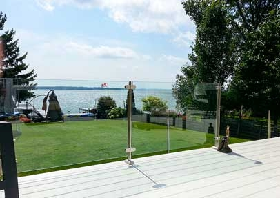 Lakeside installation of InvisiRail Glass Railing System