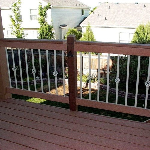 Beautiful basket pickets and balusters deliver a centerpiece design for your outdoor living space