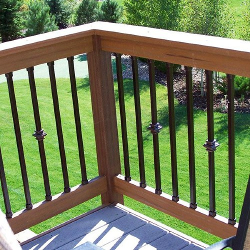 The strong look of the collar deck balusters bring a touch of modern style to your deck railing design