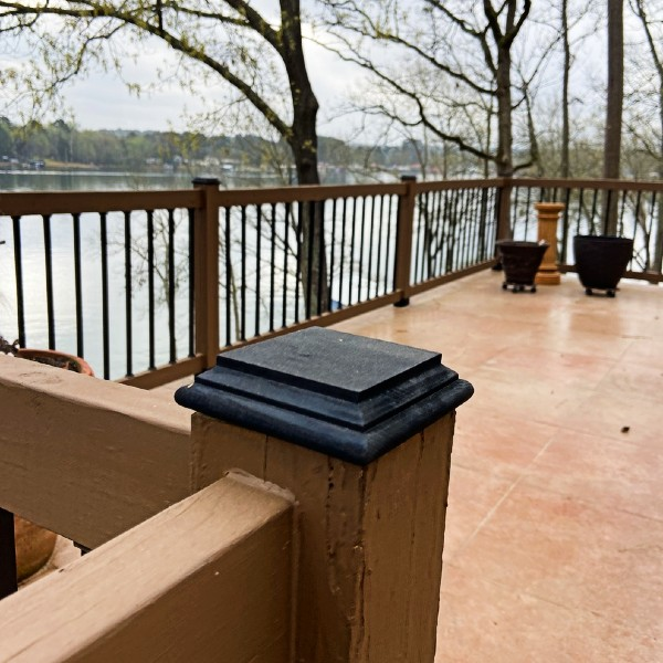 Our Deck of the Month March champion, Glenn, added new Deckorators Hatteras Castine Flat Bottom Post Caps to his deck renovation