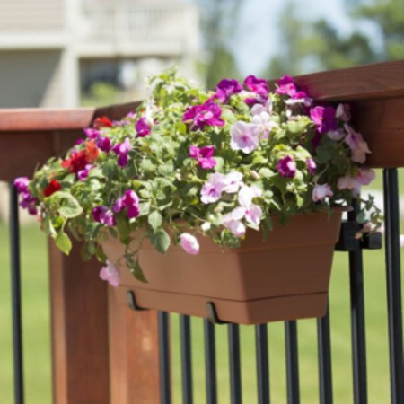 Hold It Mate Railing Accessories support your planter boxes and flower pots along your deck railing for a great DIY deck and garden ideas
