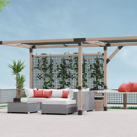 DIY Deck and Garden Design Ideas start out with a LINX Simplified Pergola system from Wild Hog Railing and a Hog Wire Railing Panel