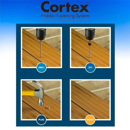 The Cortex Concealed Fastening system for DuraLife decking is perfect for first, last, and staircase boards