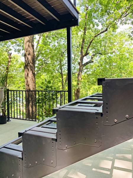 The Fortress Evolution framing system makes creating a deck staircase easy and simple for a quick deck build