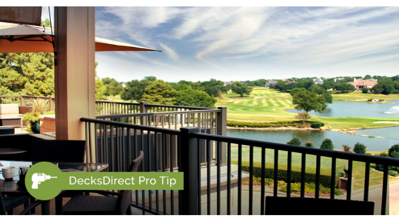 Beautiful black powder-coated aluminum AFCO Pro deck railing on a golf course