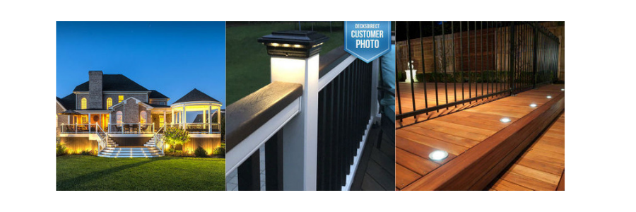 Deck lighting installation options available at DecksDirect