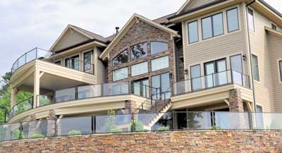 Multi-level deck featuring Westburry Veranda Glass Railing System