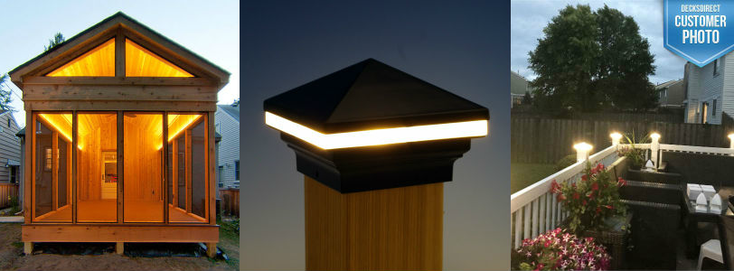 The Odyssey LED Strip Light, Iris LED Post Cap Light, and Saturn LED Post Cap Light by Aurora deliver a huge glow with little cost