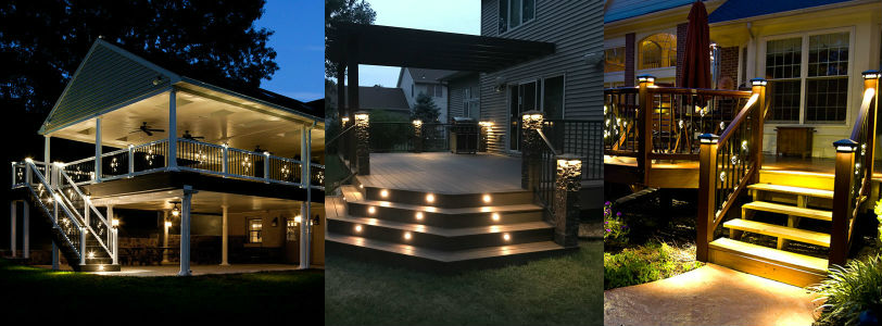 Rich low-voltage LED Post Cap Lights, beautiful recessed stair lighting and glorious lighted balusters help bring your backyard space to life with Dekor Lighting
