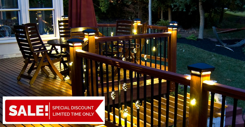 The gorgeous looks of the Premium Cast LED Post Cap Light, Single Basket Round Balusters with Light, and Petite LED Directional Light by Dekor