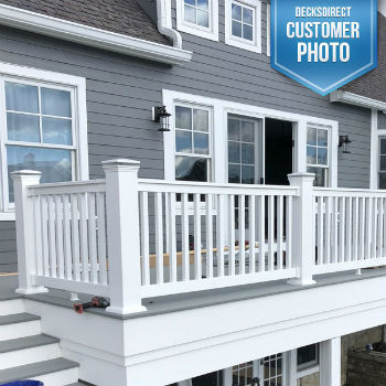 The clean lines and bright colors of the Durables Vinyl Railing line, shown in Manchester, highlights the classical beauty of most any home