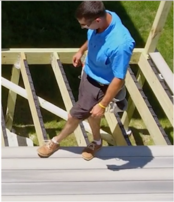 The Step-Clip Hidden Fastening System by DuraLife Decking allows you to simply walk across the composite deck board to install