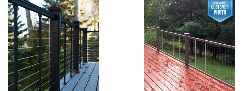 With a beveled top rail and strong, thin stainless steel wire lines, the KeyLink Cable Railing system adds a style factor to your deck