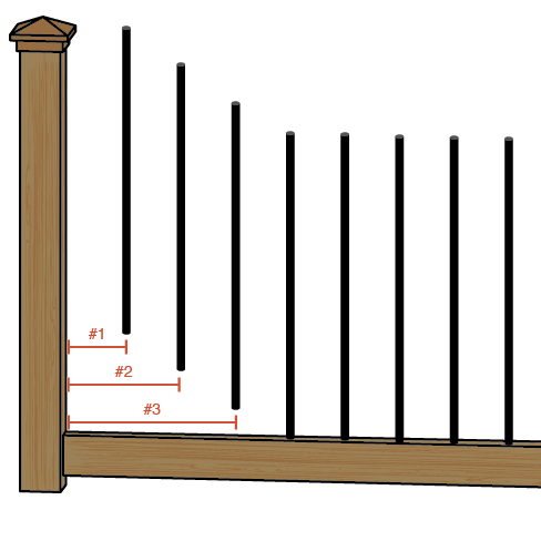 Railing to show baluster spacing