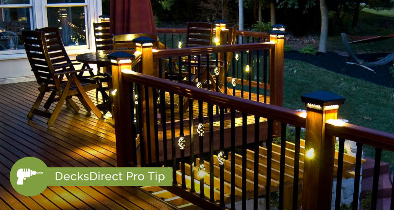 Dekor Single Basket Baluster with Light and Double Basket Baluster with Lights installed beautifully on a hardwood deck add a delicate touch of light throughout the night