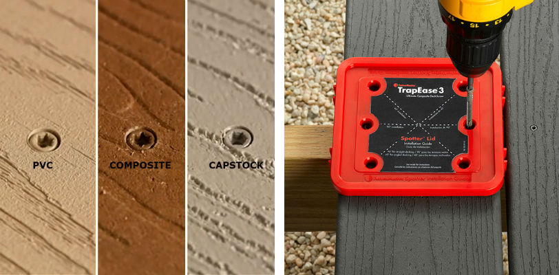 The TrapEase 3 Screws in the 350 pack size include a Spotter Lid Guide top that helps speed up installation process by placing the deck fasteners and consistently gapping the deck boards