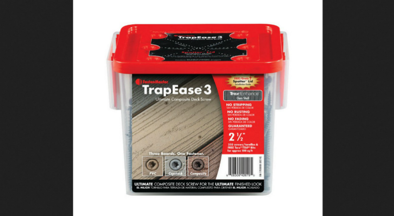 The convenient Spotter Lid Guide Tool on the TrapEase 3 Composite Deck Screws by FastenMaster help you install your deck boards quickly, consistently and correctly