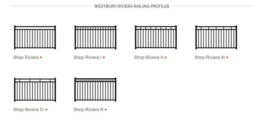 The Westbury Riviera line offers 6 different railing profiles to help complete the look you want for your space