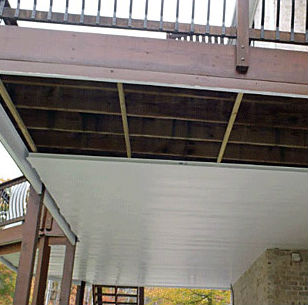 Zip-Up Under Deck Drainage System panel installation works quickly for a polished ceiling without extra tools or parts necessary