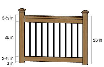 26 inch Baluster height